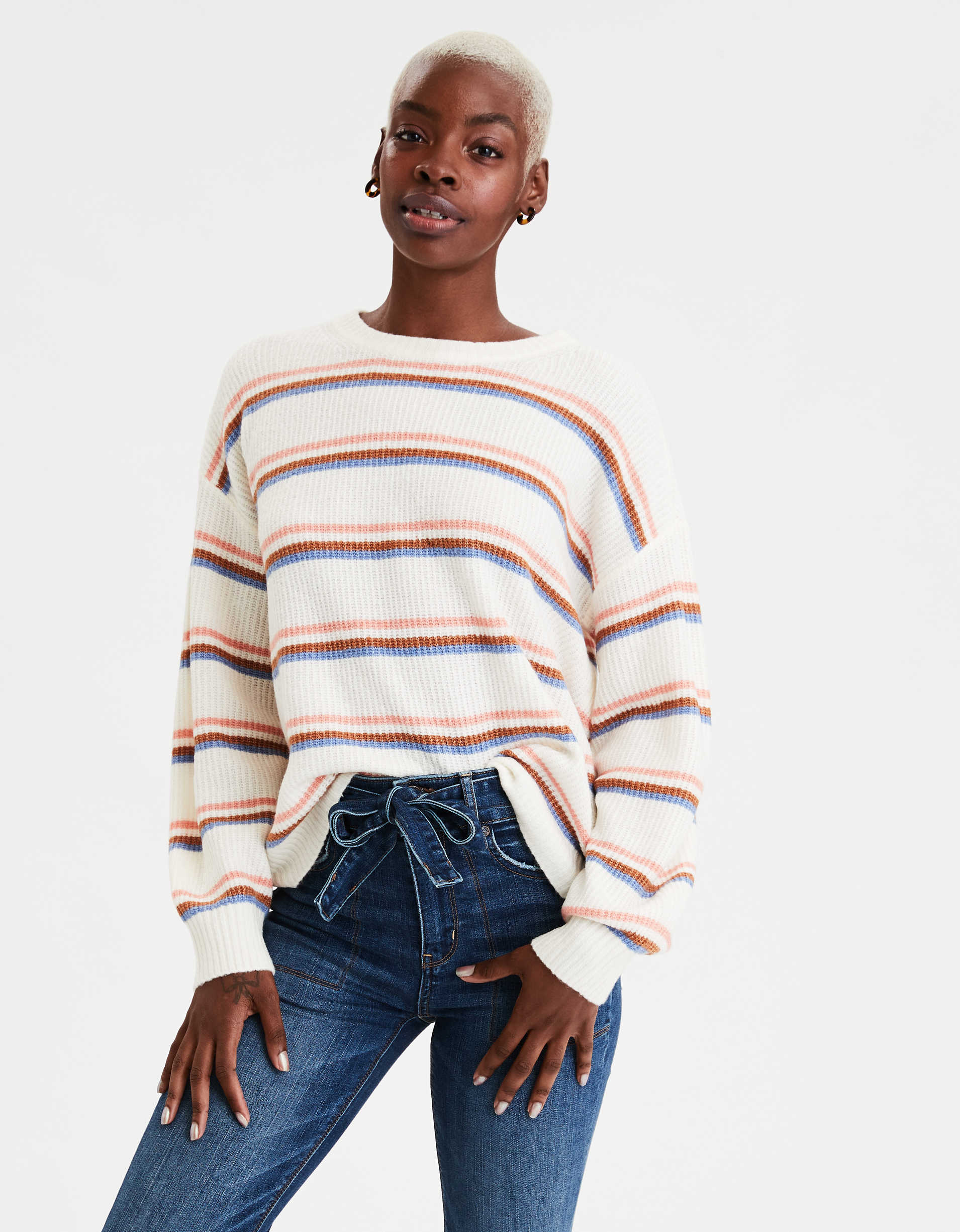 AE Striped Slouchy Crew Neck Sweater