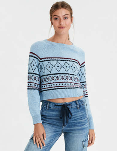 AE Fairisle Cropped Crew Neck Sweater