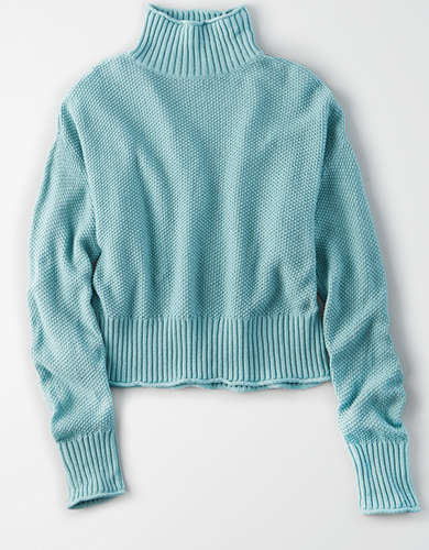 AE Mock Neck Boxy Cropped Sweater