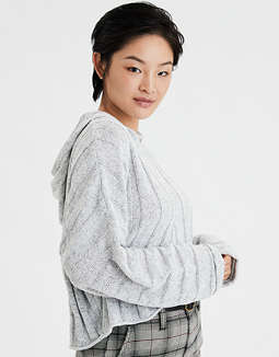 AE Chenille Cropped Hooded Sweater
