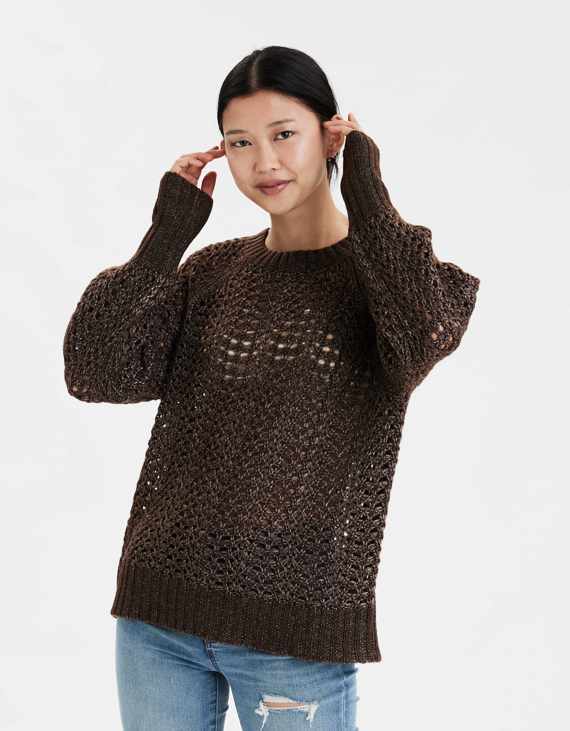 AE Pointelle Crew Neck Pullover Sweater