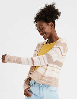 AE Striped Boxy Cropped Cardigan