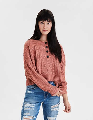 AE Cable Knit Henley Cropped Sweater