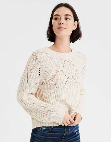 AE Slouchy Textured Crew Neck Sweater