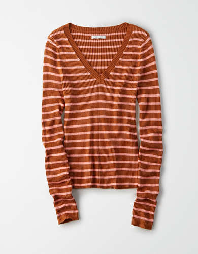 AE Striped V-Neck Bodycon Sweater
