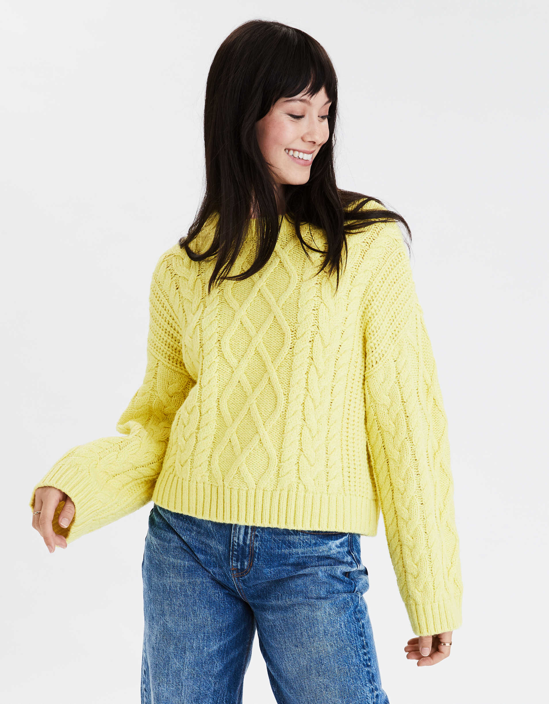 Cropped Cable Knit Crew Neck Sweater