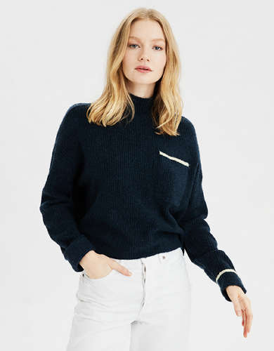 AE Boxy Mock Neck Sweater