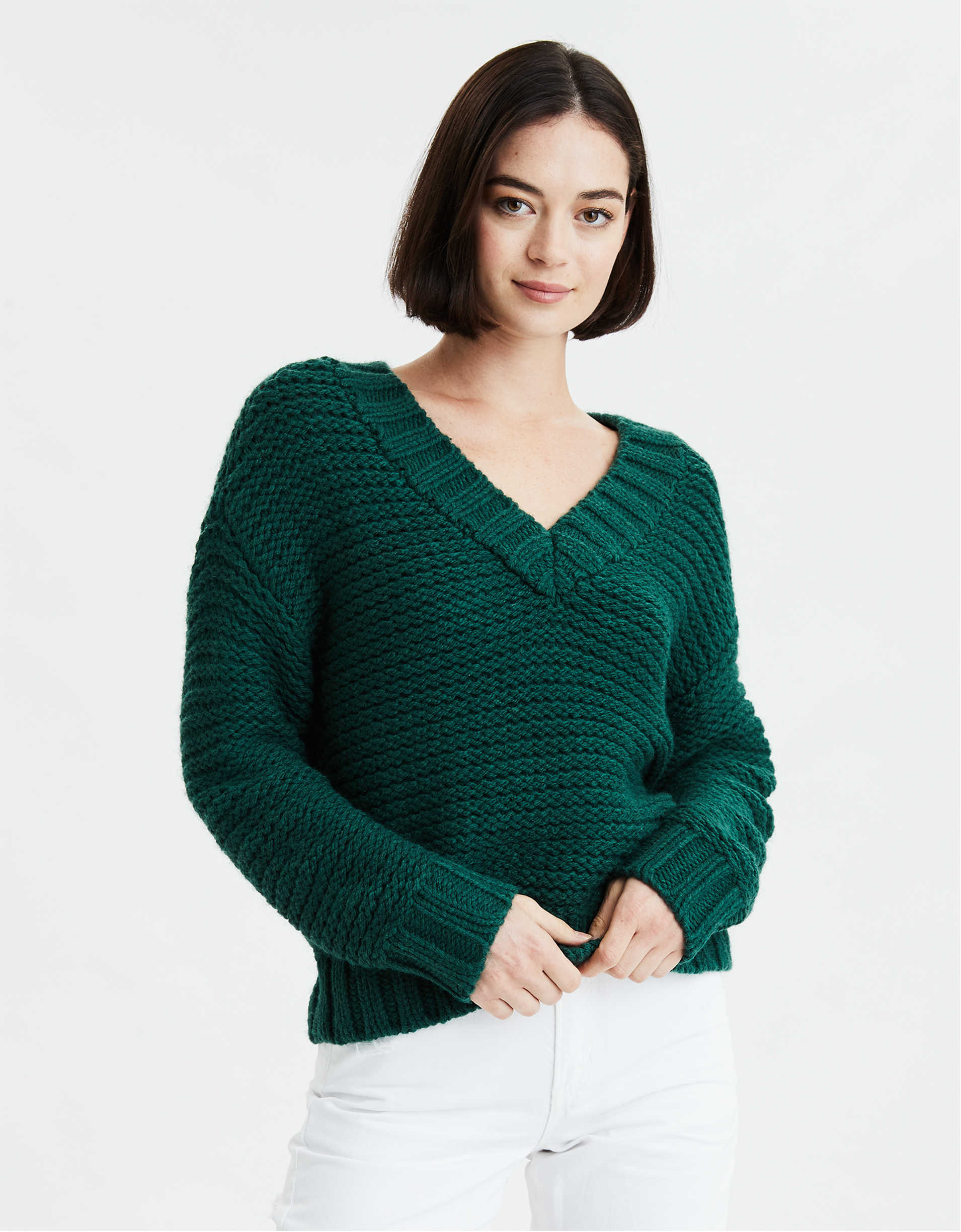 AE Chunky Knit V-Neck Oversized Sweater
