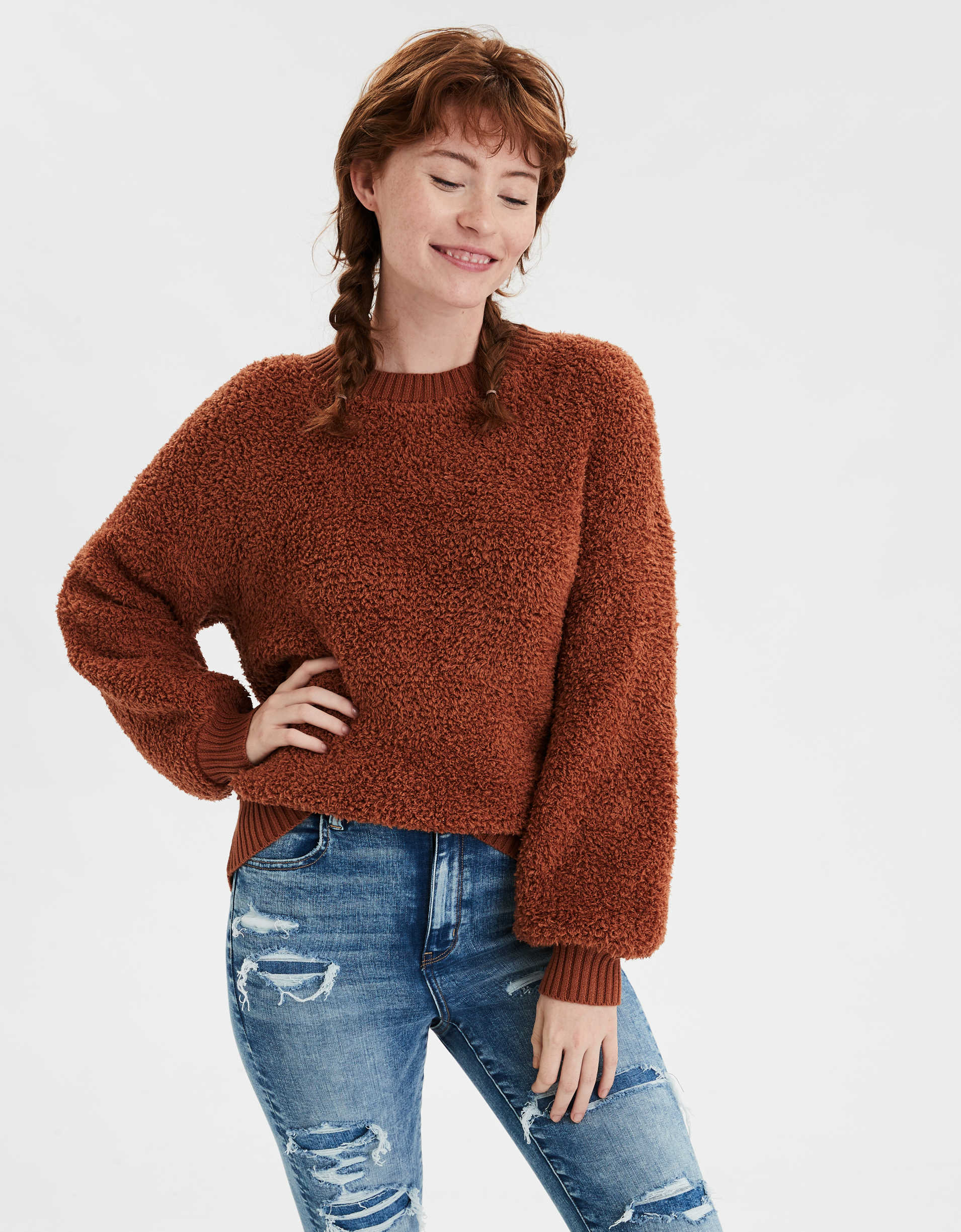AE Boucle Crew Neck Oversized Sweater