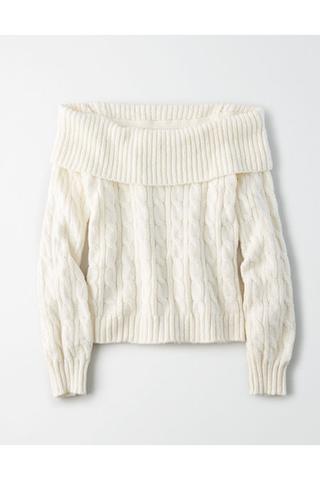 Vintage Sweaters, Retro Sweaters & Cardigan Ladies AE Off-The-Shoulder Cable Knit Sweater Womens Cream L $24.97 AT vintagedancer.com