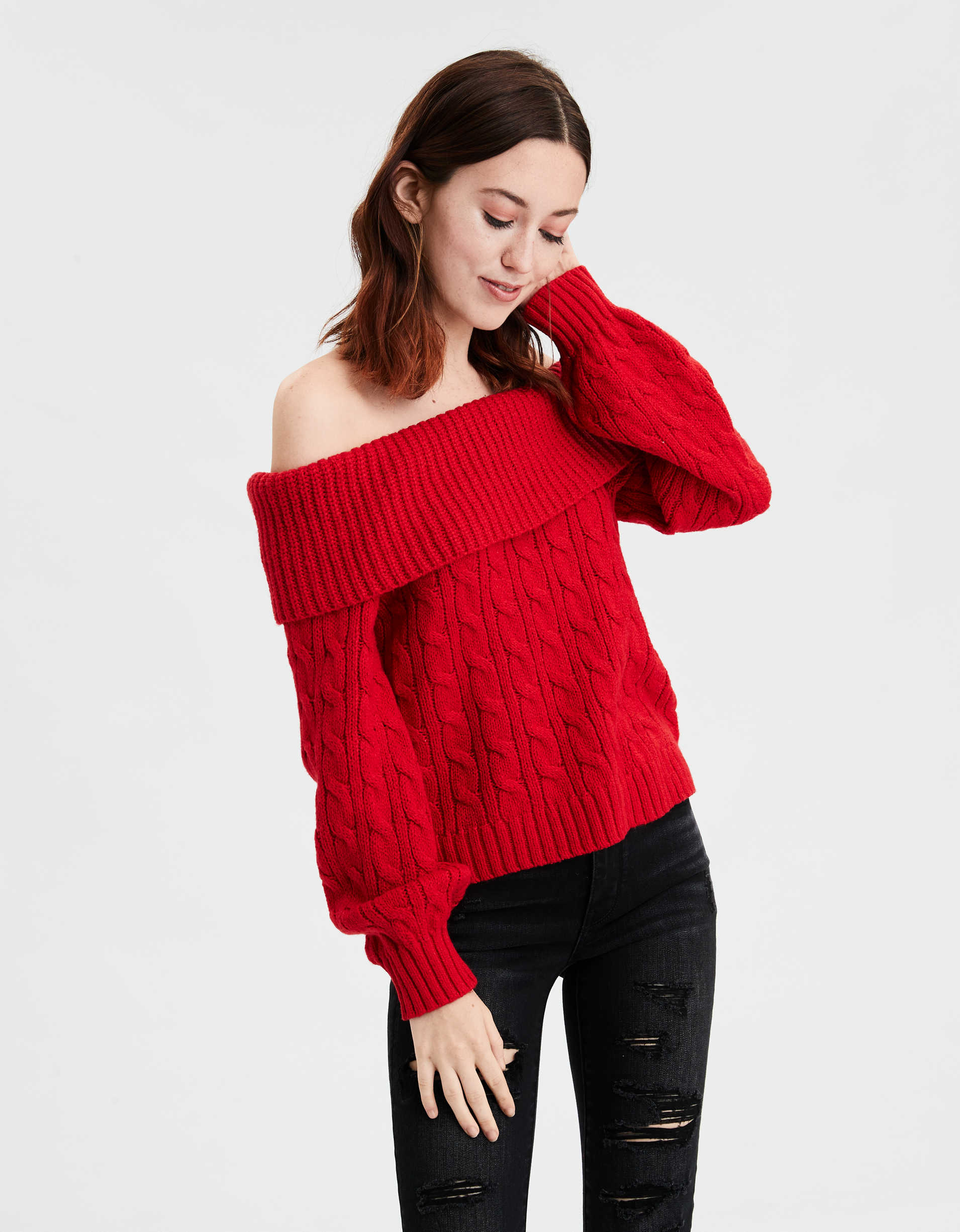 AE Off-The-Shoulder Cable Knit Sweater