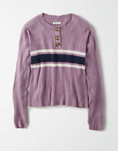 AE Cropped Henley Sweater