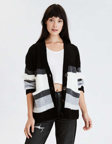 AE Striped Oversized Button Up Cardigan