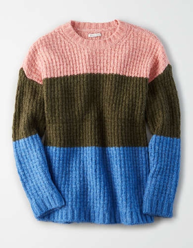 AE Color Block Crew Neck Oversized Sweater