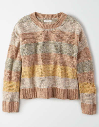 AE Striped Boxy Crew Neck Sweater
