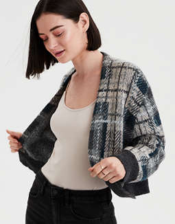 AE Cropped Plaid Cardigan