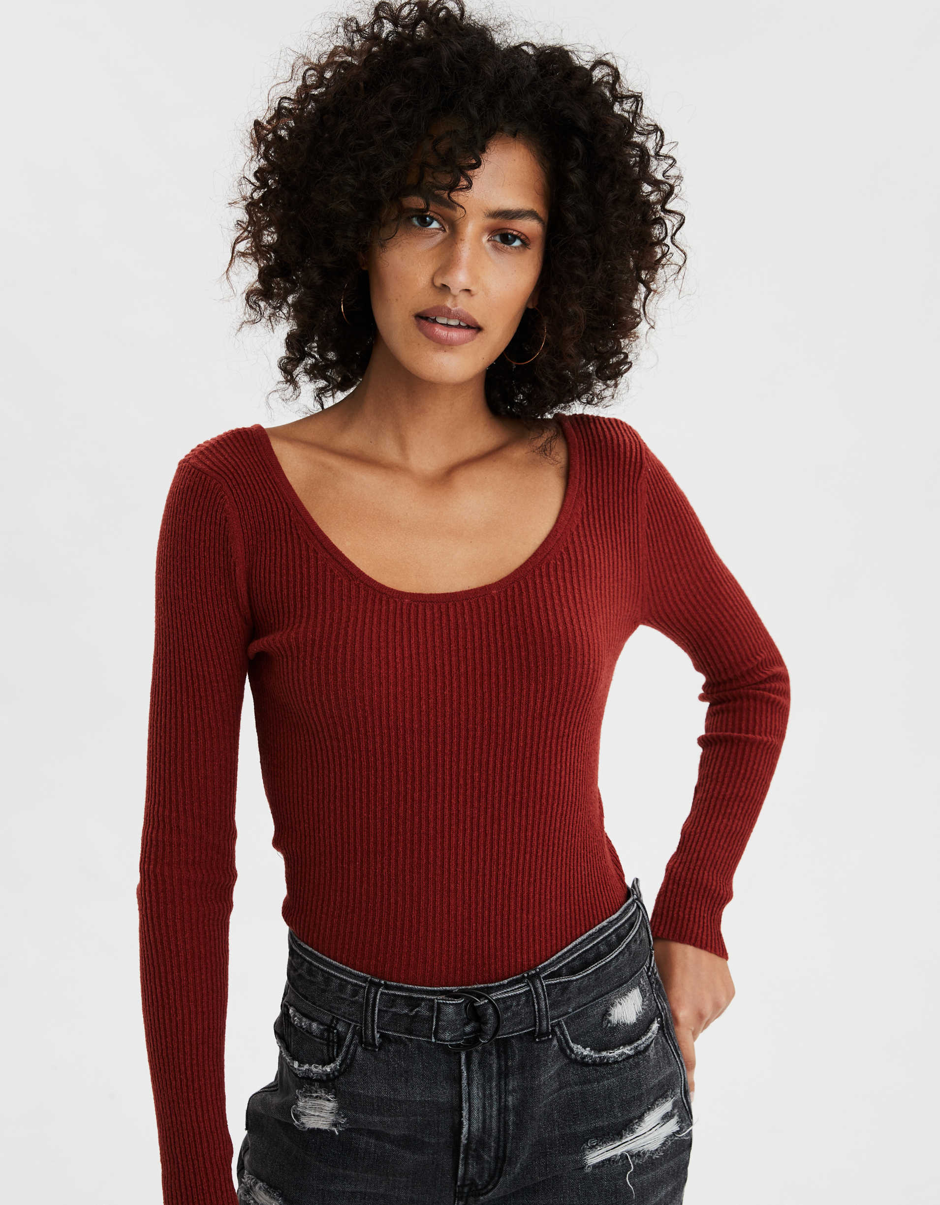 AE Bodycon Scoop Neck Sweater