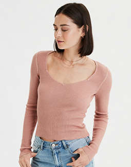 AE Ribbed Sweetheart Pullover Sweater