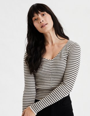 Ae Striped Cropped Pullover Sweater by American Eagle Outfitters
