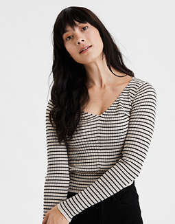 AE Striped Cropped Pullover Sweater