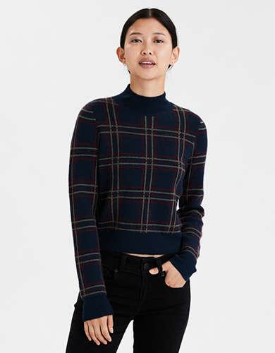 AE Plaid Mock Neck Cropped Sweater