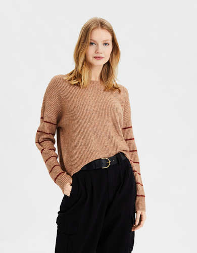 AE Striped Sleeve Crew Neck Sweater
