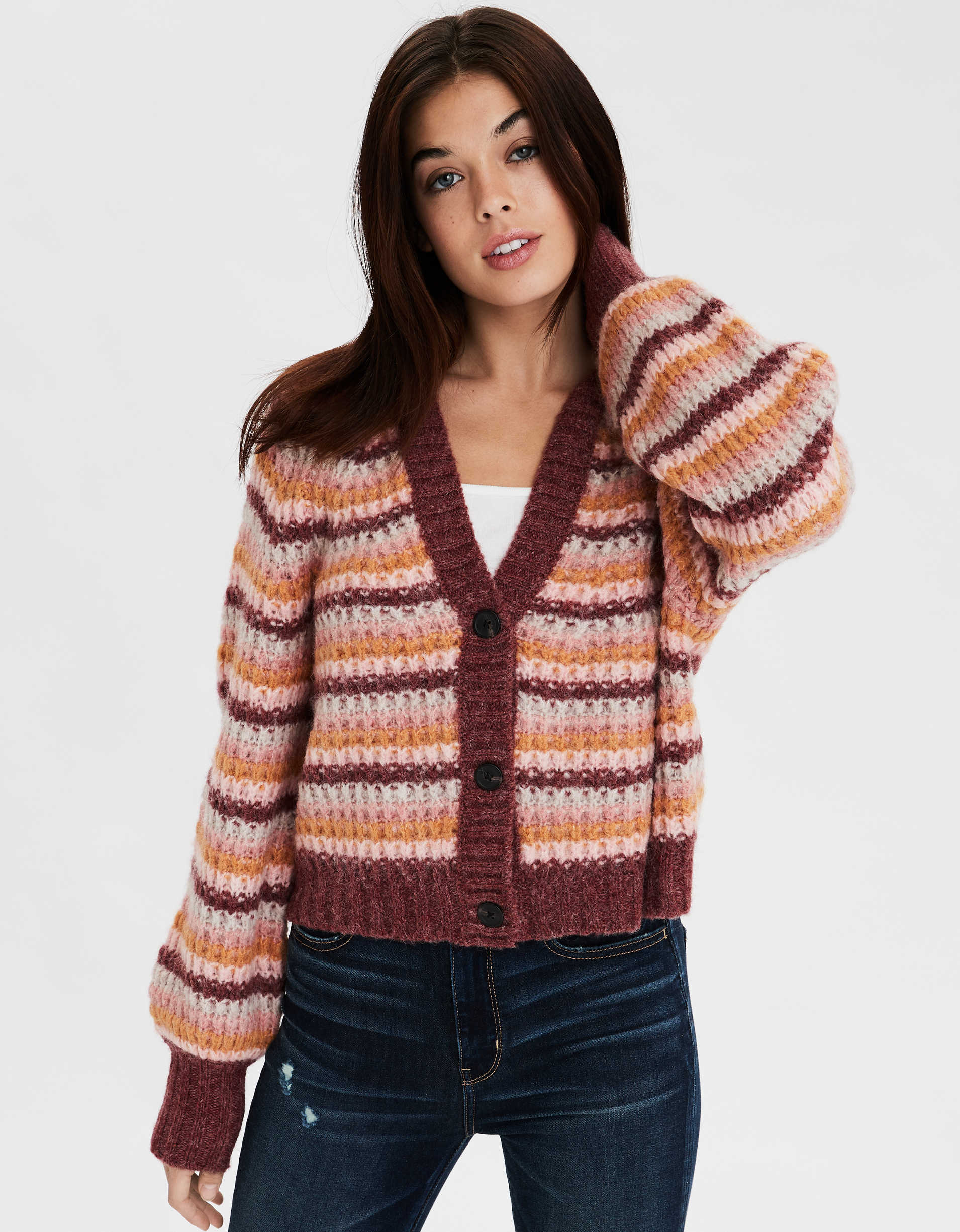 AE Striped Cropped Button Front Cardigan