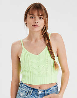 AE Neon Cropped Cable Tank Top