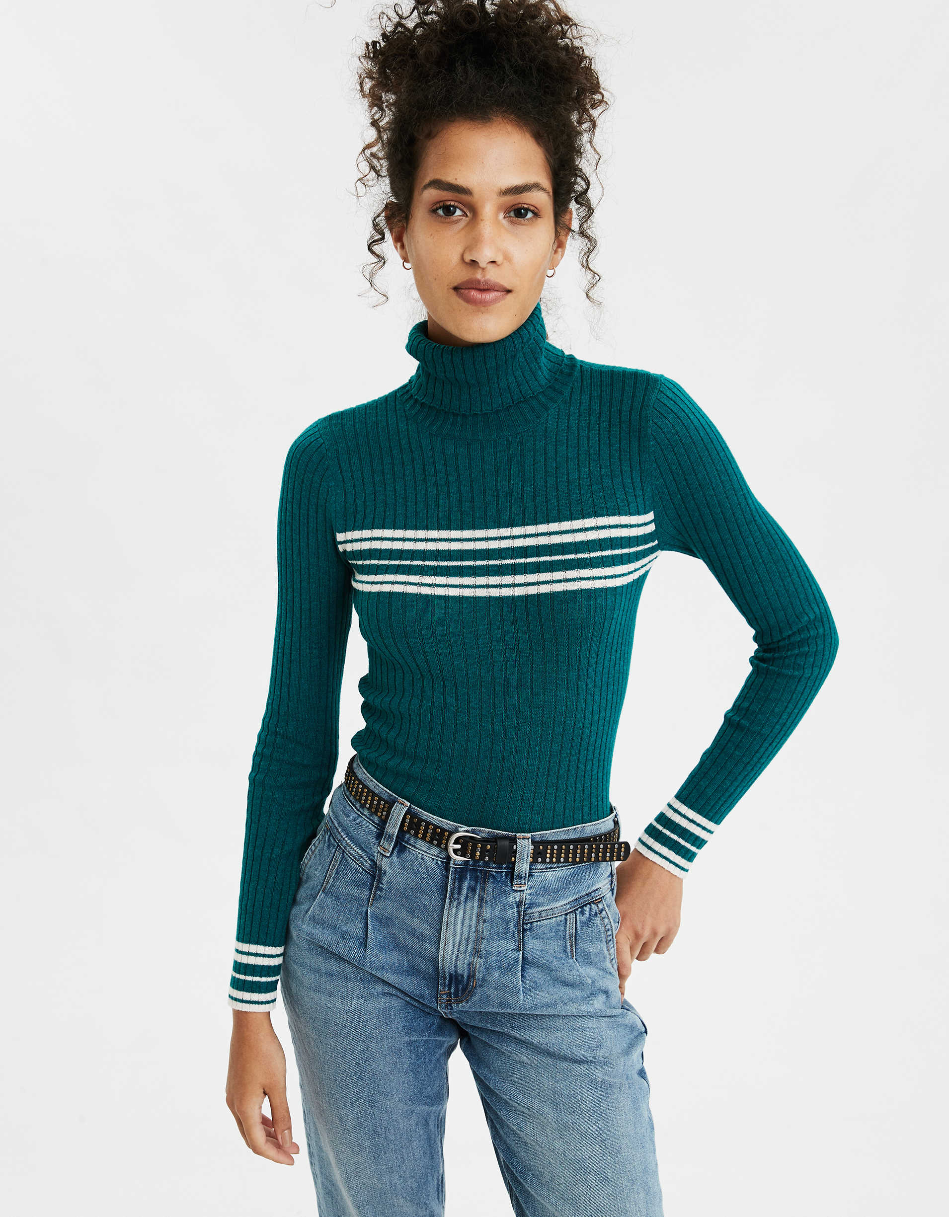 AE Striped Bodycon Turtleneck Sweater