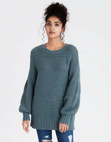 AE Mixed Texture Crew Neck Oversized Sweater