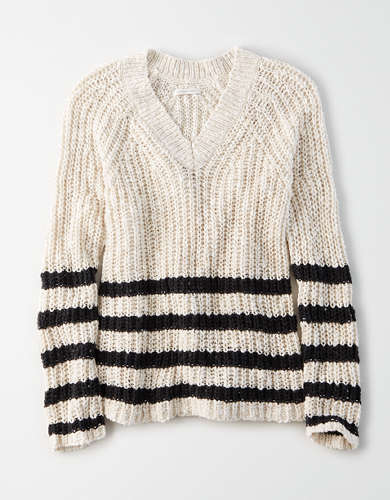 AE Striped V-Neck Oversized Sweater