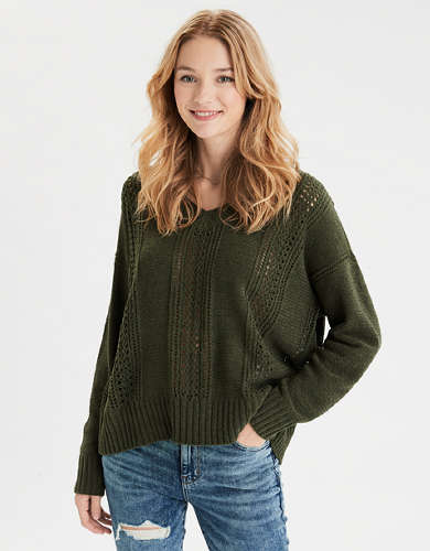 AE Pointelle V-Neck Sweater