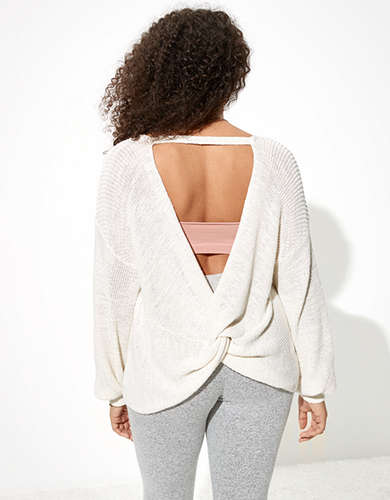 AE Twist Back Crew Neck Sweater