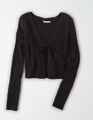 AE Cropped Tie Front Cardigan