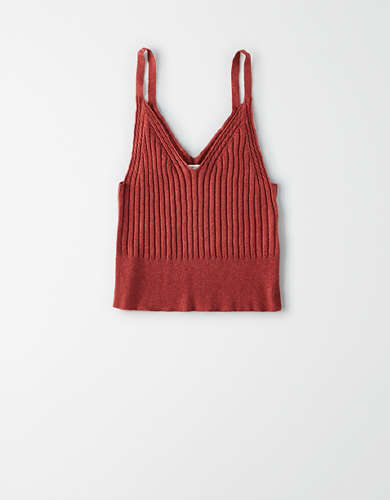 AE Cable Knit Cropped Tank Top