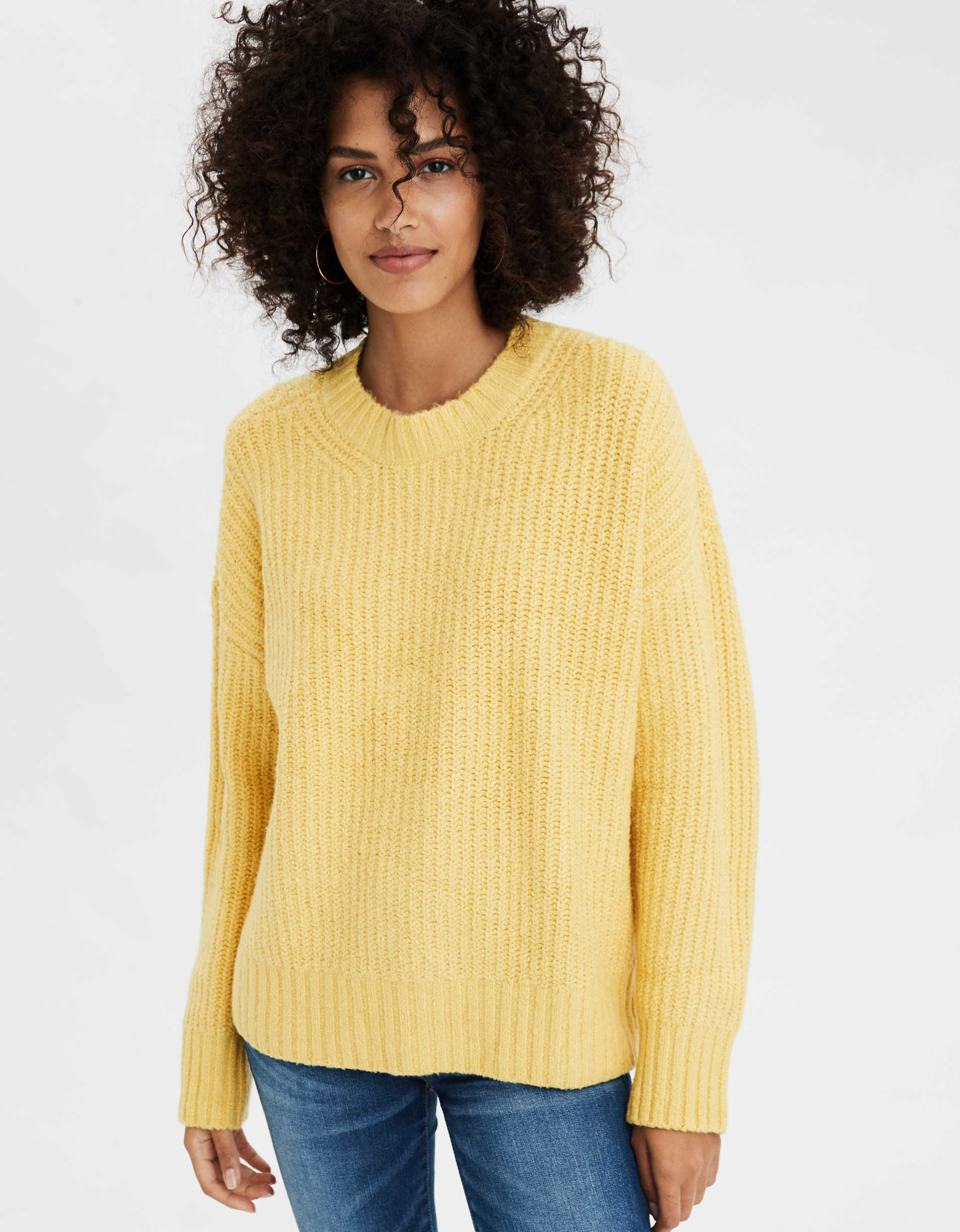 AE Slouchy Ribbed Crew Neck Sweater