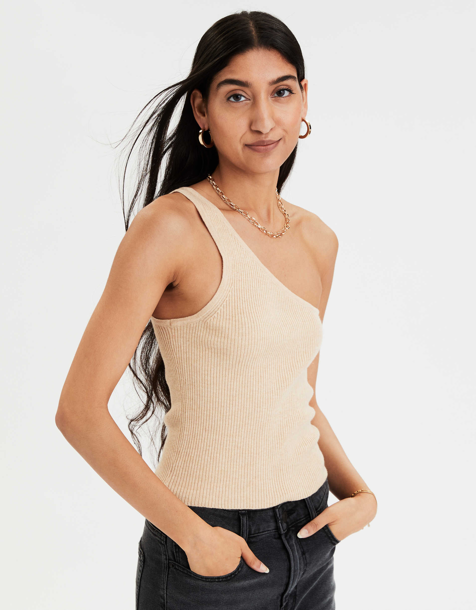 AE One Shoulder Sweater Tank Top