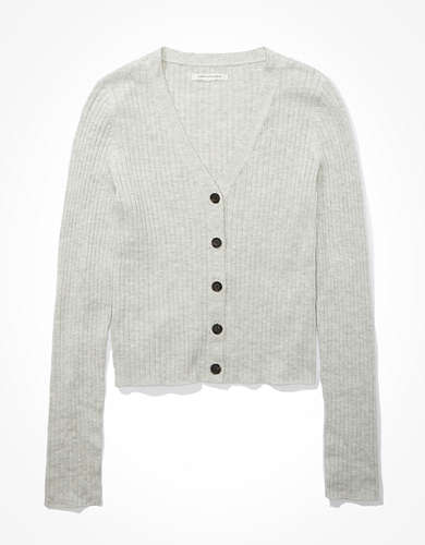 AE Ribbed Bodycon Button Up Cardigan