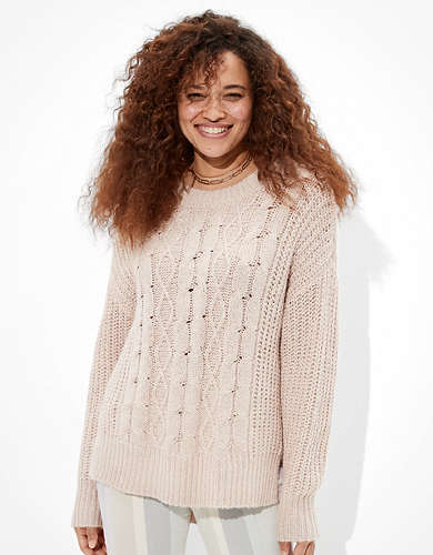 AE Cable Knit Crew Neck Sweater