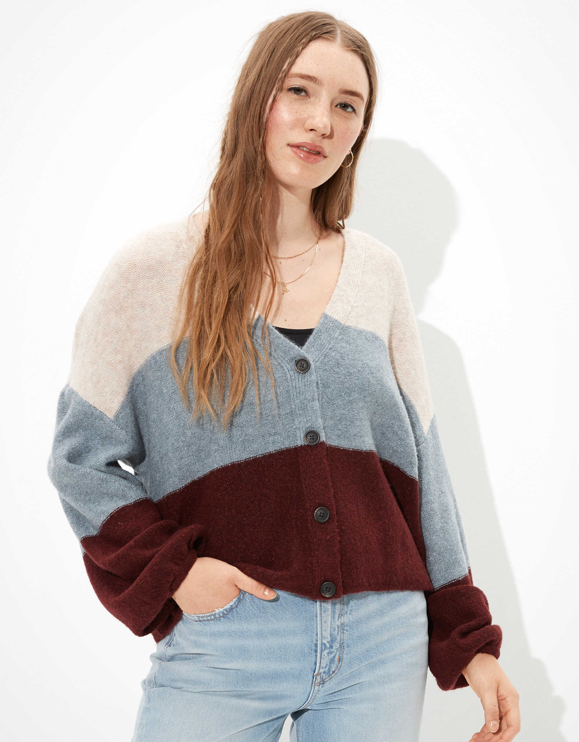 AE Cropped Balloon Sleeve Button Up Cardigan