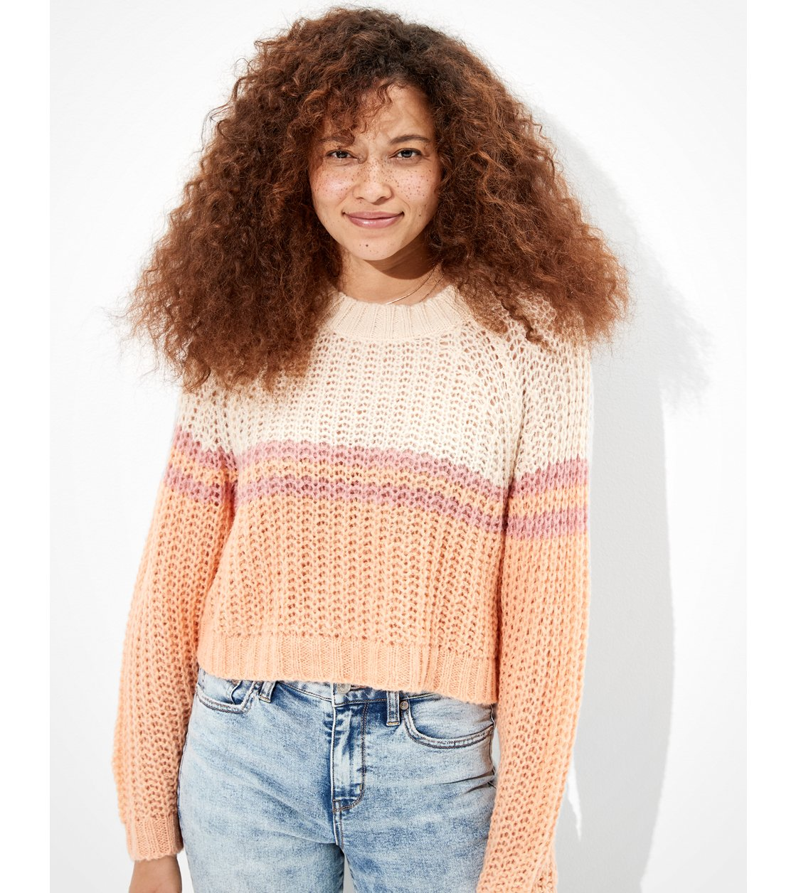 American Eagle AE Cropped Color Block Crew Neck Sweater