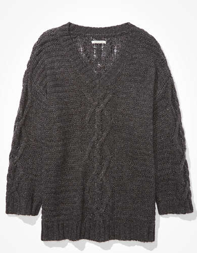 AE Oversized Cable Knit V-Neck Sweater