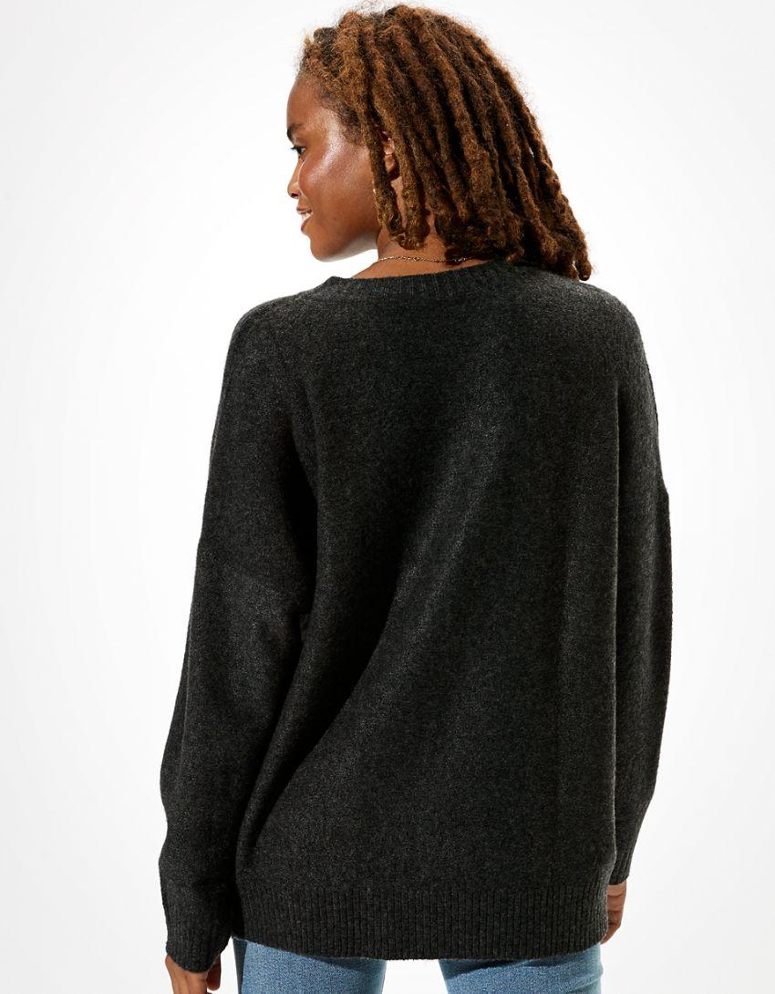 AE Oversized Lace Up Crew Neck Sweater