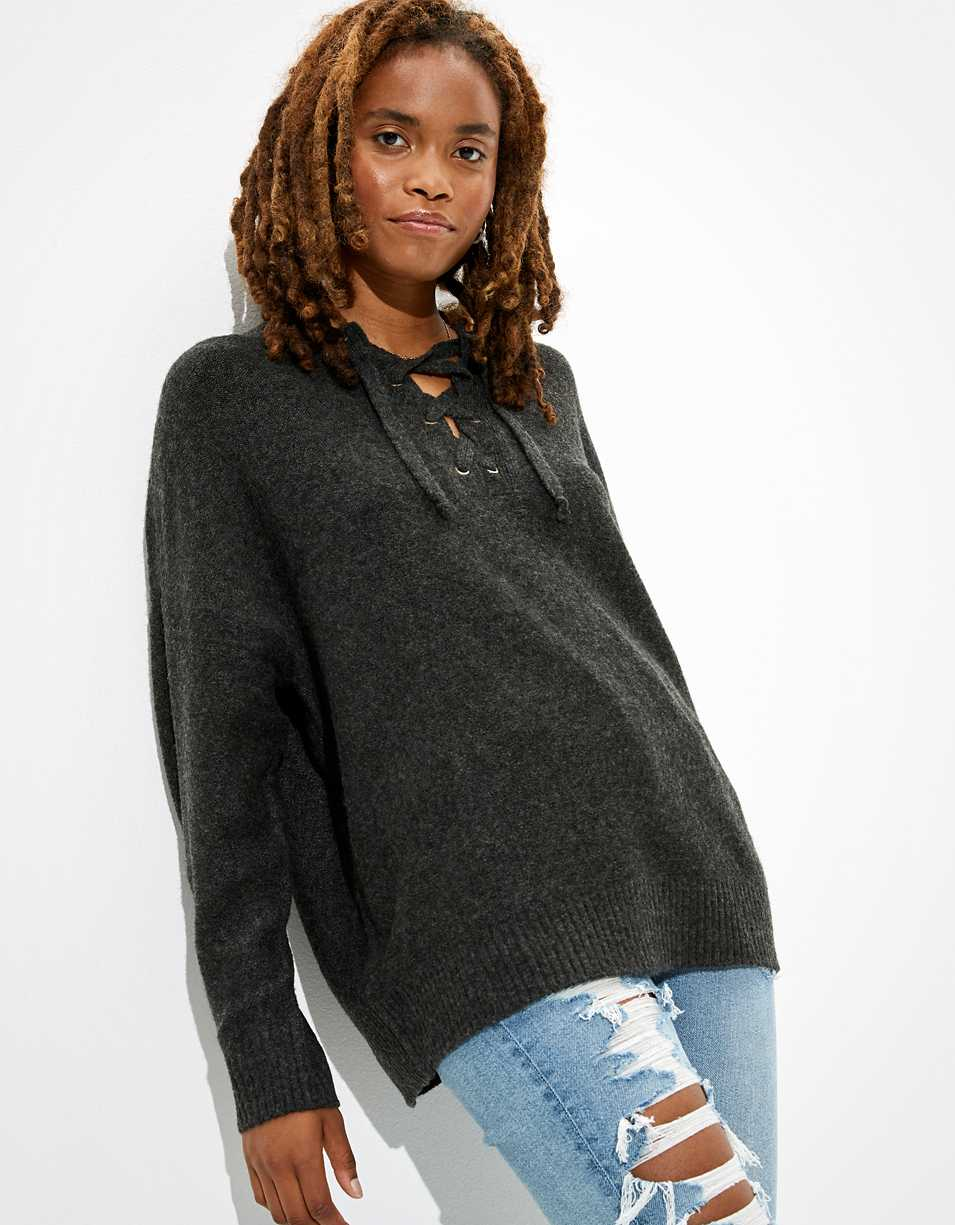 AE Oversized Lace Up Crew Neck Sweater