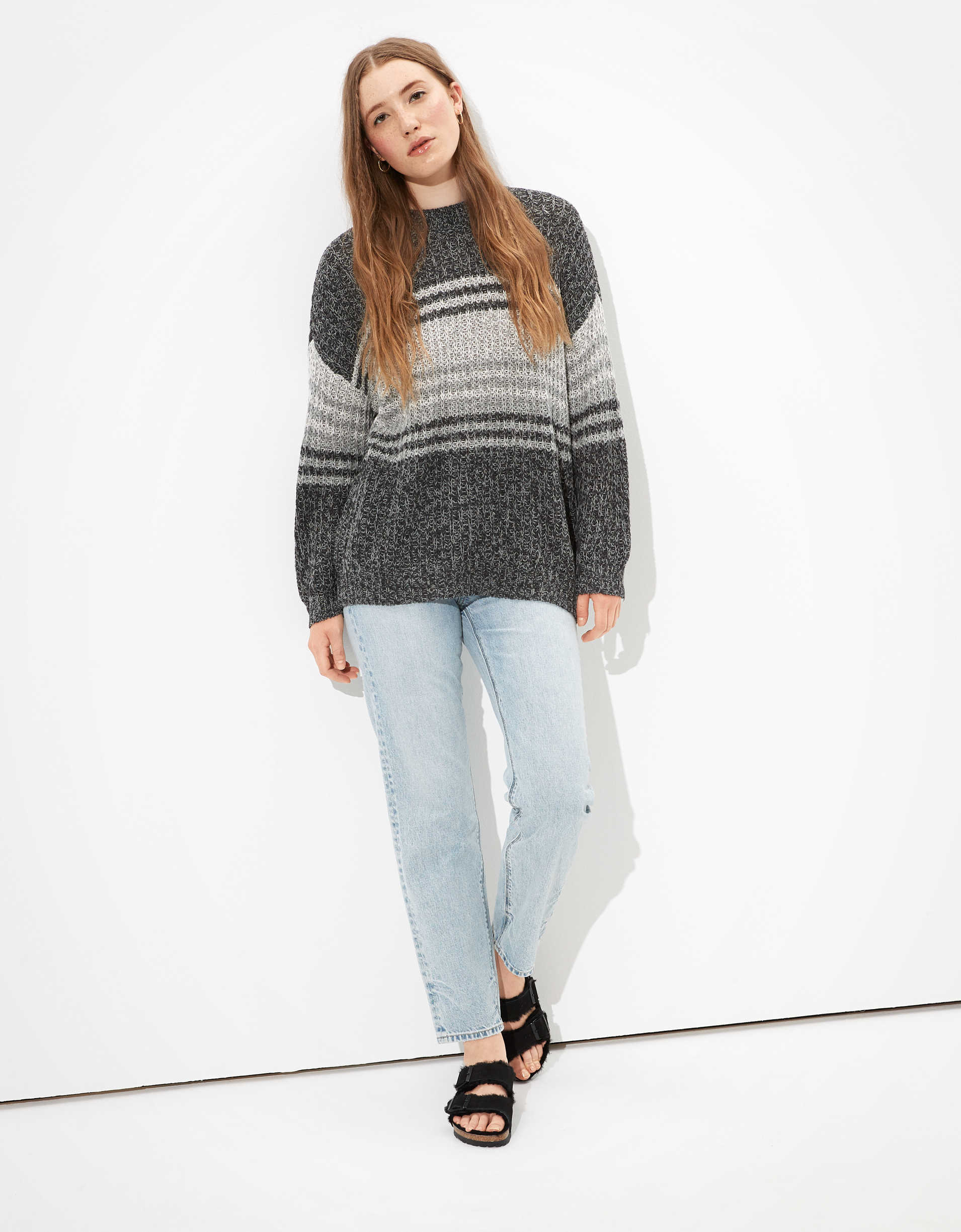 AE Oversized Striped Crew Neck Sweater