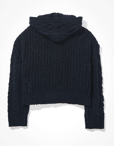 AE Hooded Cable Knit Cardigan