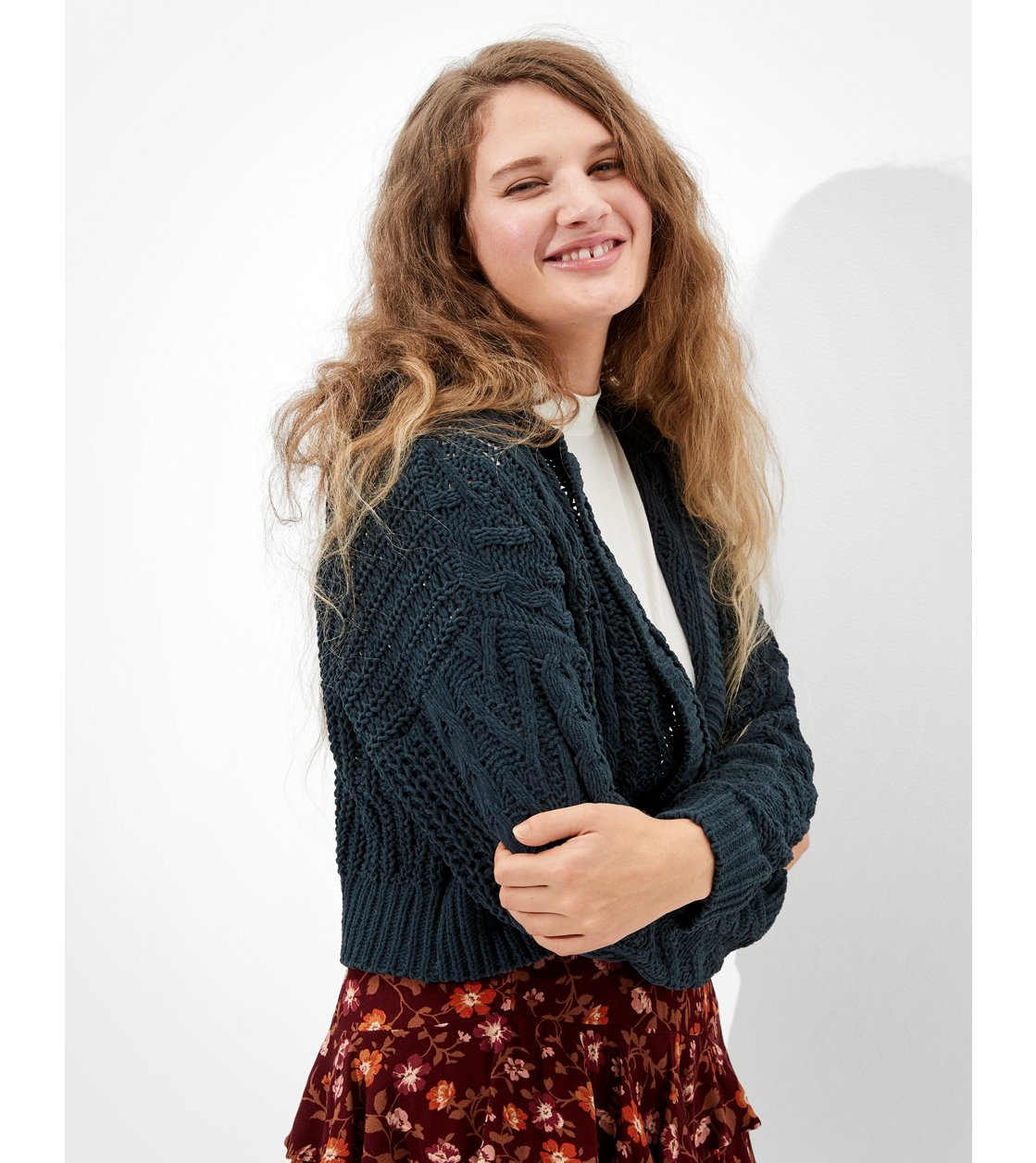 American Eagle AE Hooded Cable Knit Cardigan