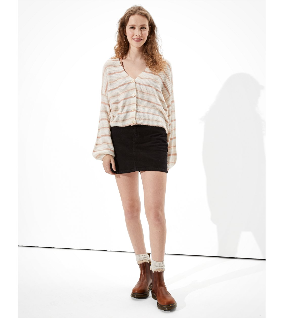 American Eagle AE Cropped Button Up Cardigan