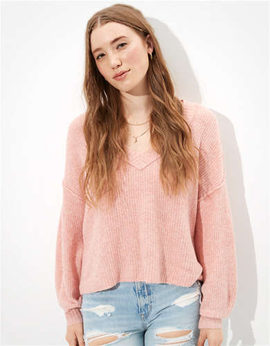 AE Dreamspun Cropped V-Neck Sweater