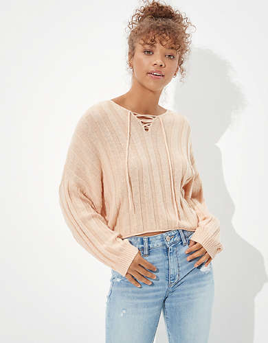 AE Lace Up V-Neck Sweater